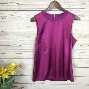 Ann Taylor Silk Blend Purple Pleat Neck Tank Top